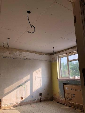 Image 7 - Downlights cut out of ceiling and ready too be plastered