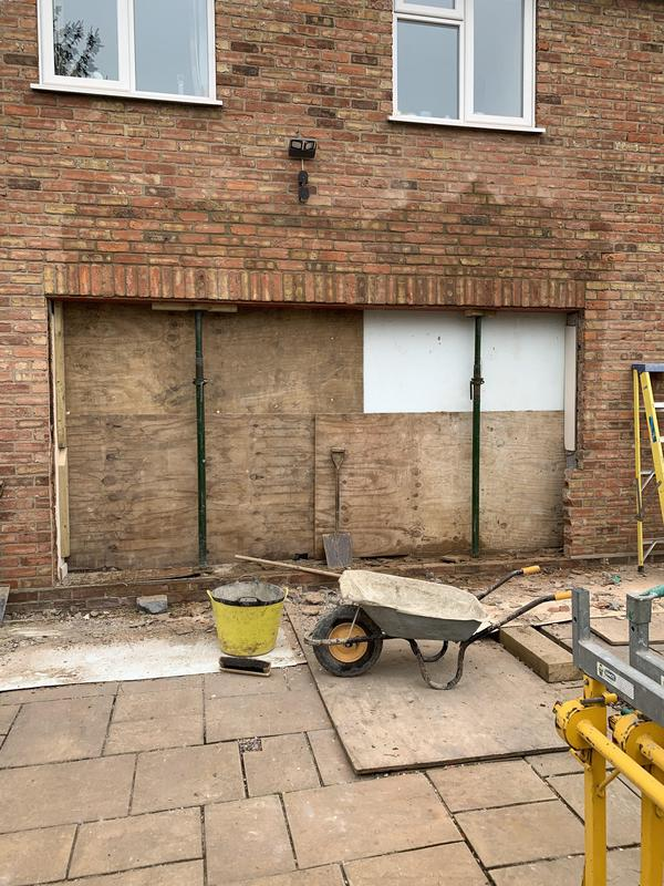 Image 9 - Opening for bi-fold doors with soldier course & brickwork infill above completed.