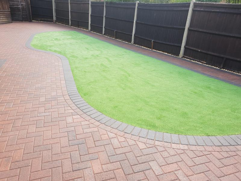 Image 6 - Block paving patio with artificial grass in Farnborough
