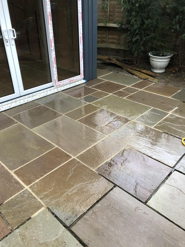 Image 45 - Half way through jointing the patio we were laying in Indian sandstone