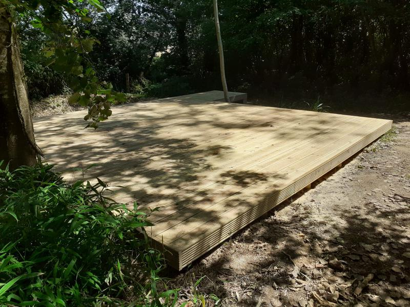 Image 68 - New raised decking in preparation to receive lake garden building, Ansty