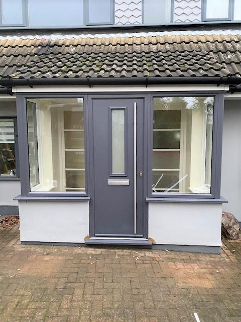 Image 38 - Slate grey composite door and foil windows