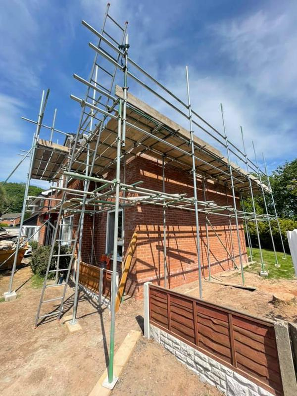 Image 120 - Double story extension - During - Scaffolding
