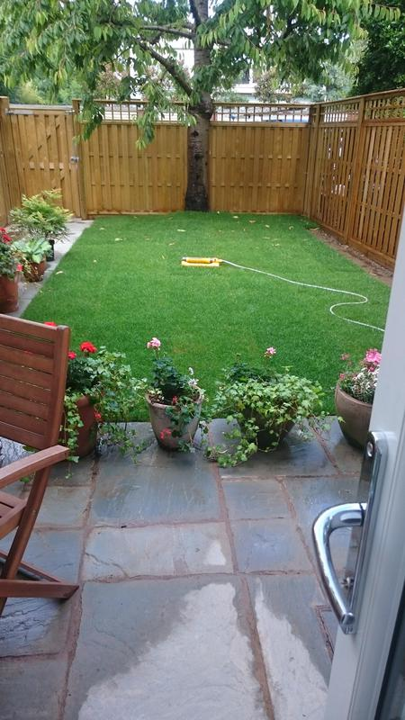 Image 21 - View of finished garden, complete with new patio, fencing, lawn and path to parking area.