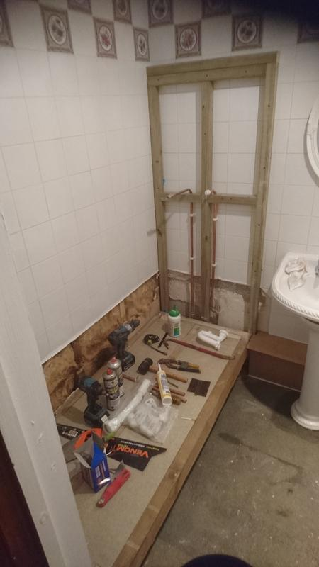Image 51 - Bath removed, and plumbing  ready for walk in shower