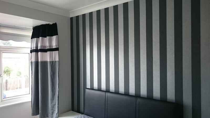"Image 47 - Superfresco ""Ariadne Black/Grey"" Wallpaper complimented by Dulux Polished Pebble"