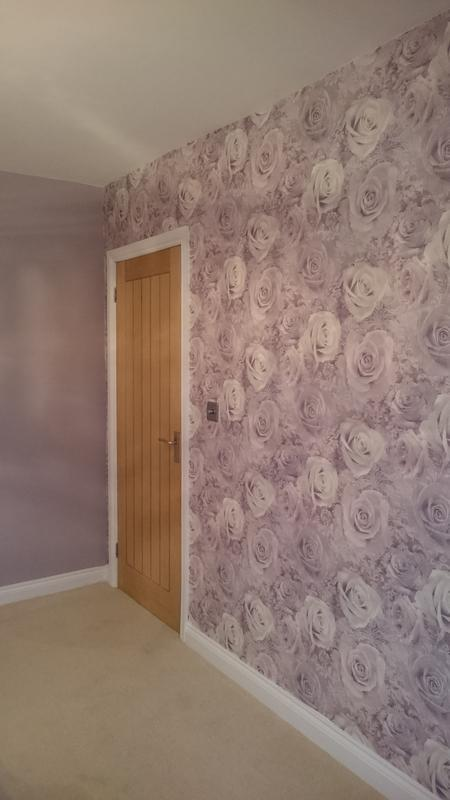 "Image 43 - Arthouse Unlimited ""Reverie Mauve"" Wallpaper complimented by Dulux ""Dusted Fondant"""
