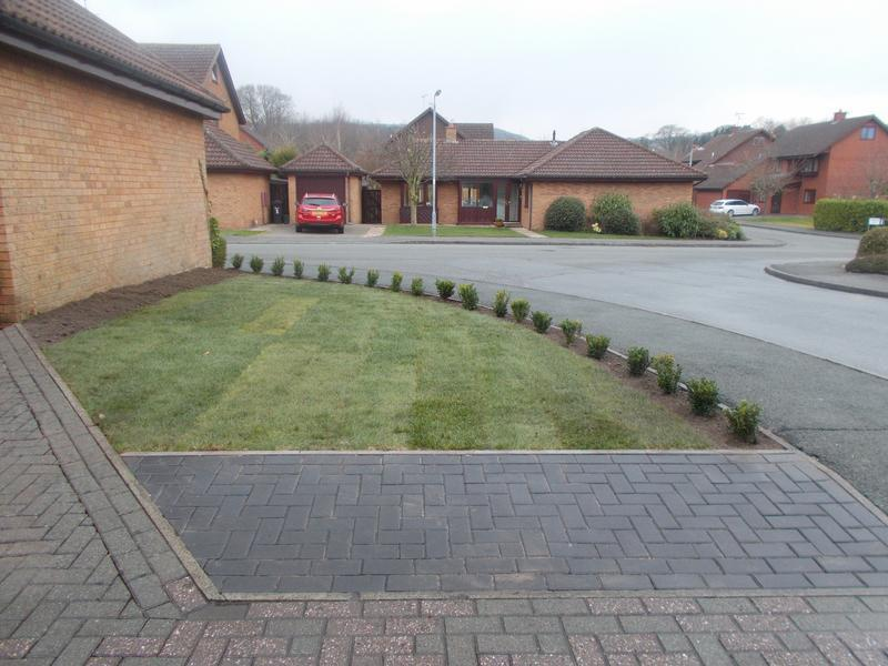 Image 38 - front garden after new turf and drivway extension