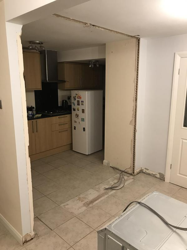 Image 5 - Customer 0142: During - Wall now down. Making a kitchen open plan into the dining room.