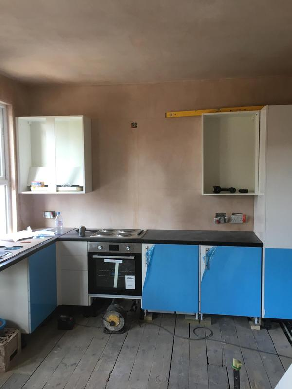 Image 13 - Kitchen taking shape with the boiler housed in the tall larder unit.