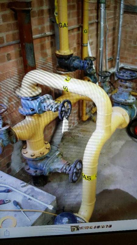 "Image 5 - old 4 "" gas header removed to recipe at a school in Coventry due to a gas leak on steel buried under access road new fusion welding pipework 180mm being installed on next pic"