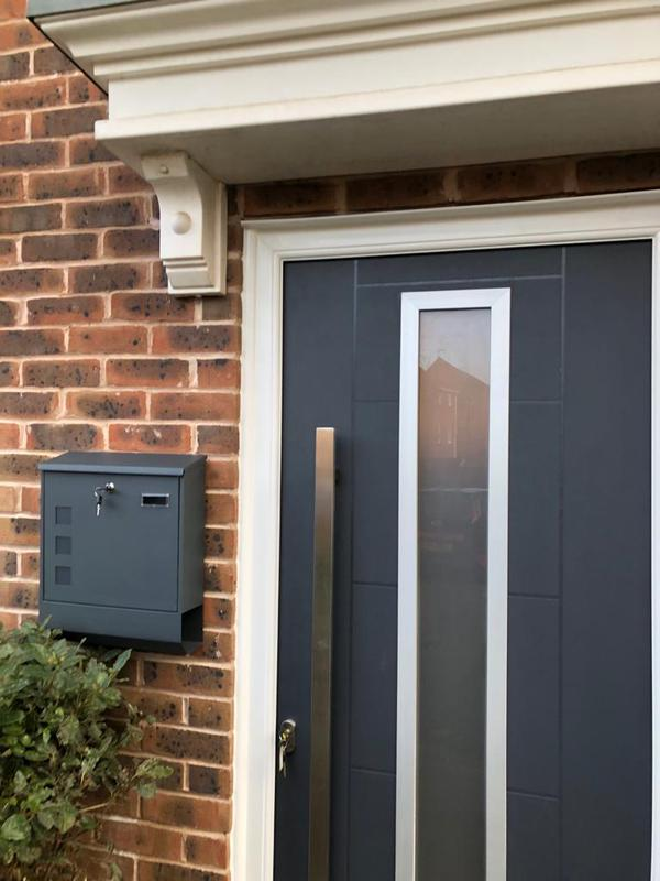 Image 2 - anthracite composite door with pull handle and wall mounted letterbox
