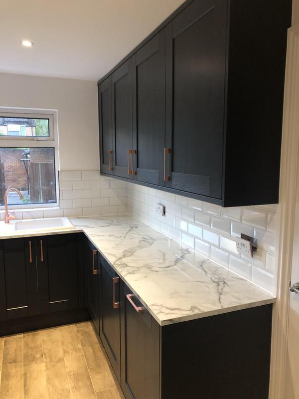 Image 13 - Full kitchen Refurbishment, new floor tiles wood effect new spot lights, metro tiles backsplash