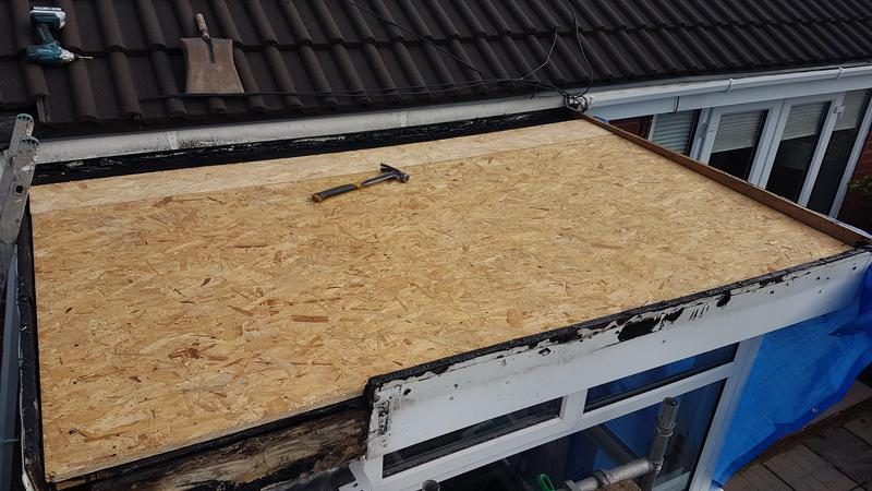 Image 30 - Part of asbestos roof already boarded