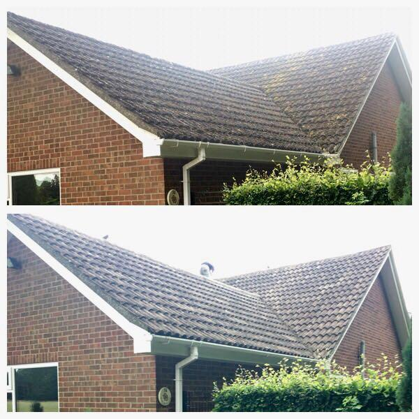 Image 102 - Tiled roof hand cleaned of all moss & tiles treated after cleaning process to prevent the moss growing back.