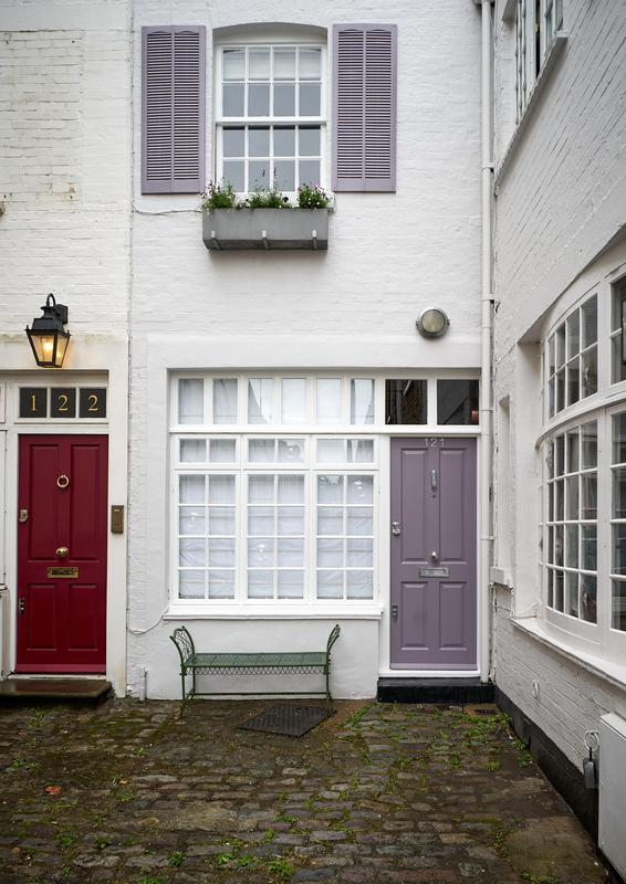 Image 1 - Mews House: Pilico London. Exterior Decorating. Complete preparation and painting and decorating of all doors, windows, shutters. The masonry walls are painted in Farrow & Ball 'Blackened' The shutters & door are in F&B 'Brassica'.