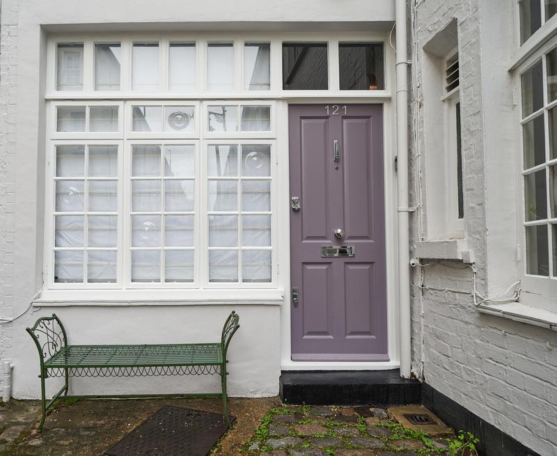 Image 2 - Mews House: Pilico London. Exterior Decorating. Complete preparation and painting and decorating of all doors, windows, shutters. The masonry walls are painted in Farrow & Ball 'Blackened' The shutters & door are in F&B 'Brassica'.