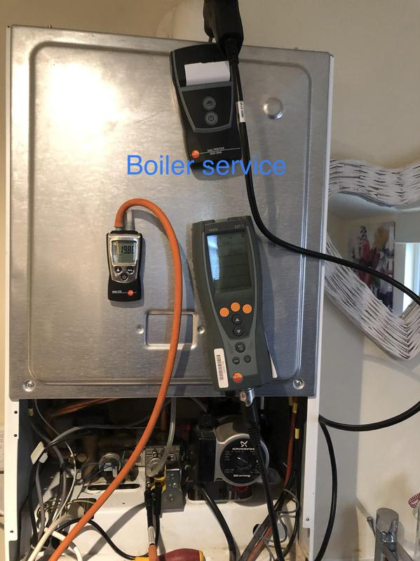 Image 23 - Boiler service, Normal service, burner , condense trap cleaned. Inlet gas pressure and flue gas analiser check