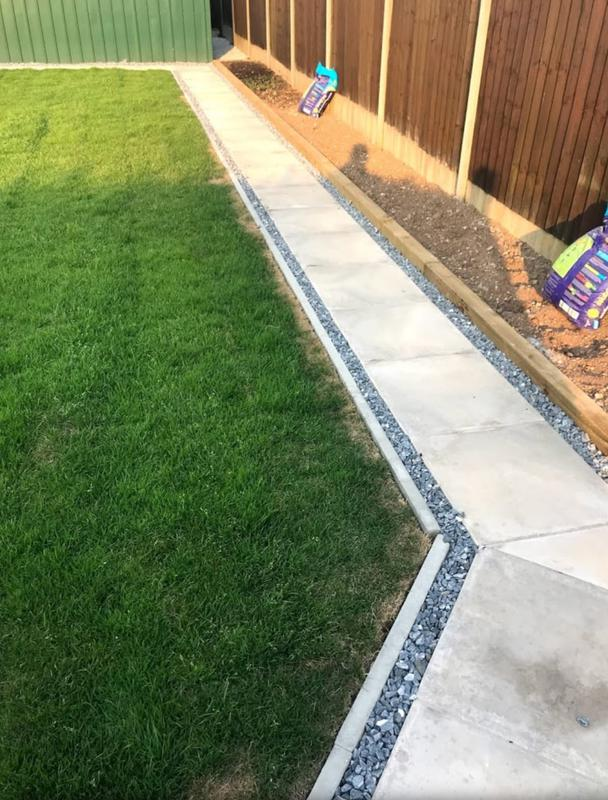 Image 43 - New lawn with slabs foot path round the garden with blue slate chippings