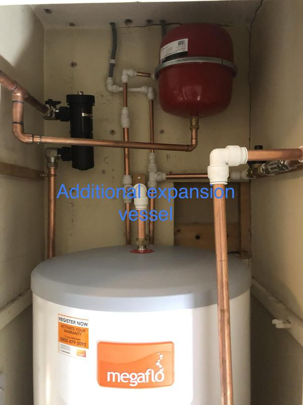 Image 24 - Additional expansion vessel and 28 mm Adey magnetic filter, unvented cylinder installation