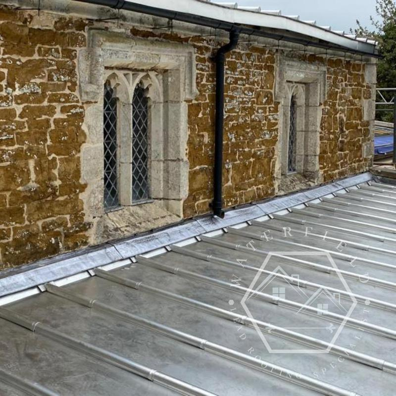 Image 41 - Welted flashing detail on stainless roof