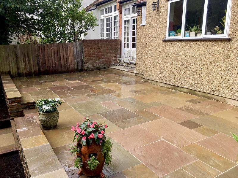 Image 8 - Indian Sandstone Buff Multi - Stoneface Drystack Walling in Copper Slate - Steps and Sleeper Flower Beds