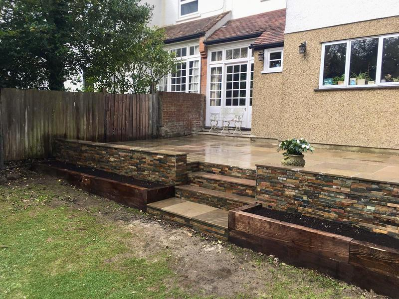 Image 9 - Indian Sandstone Buff Multi - Stoneface Drystack Walling in Copper Slate - Steps and Sleeper Flower Beds