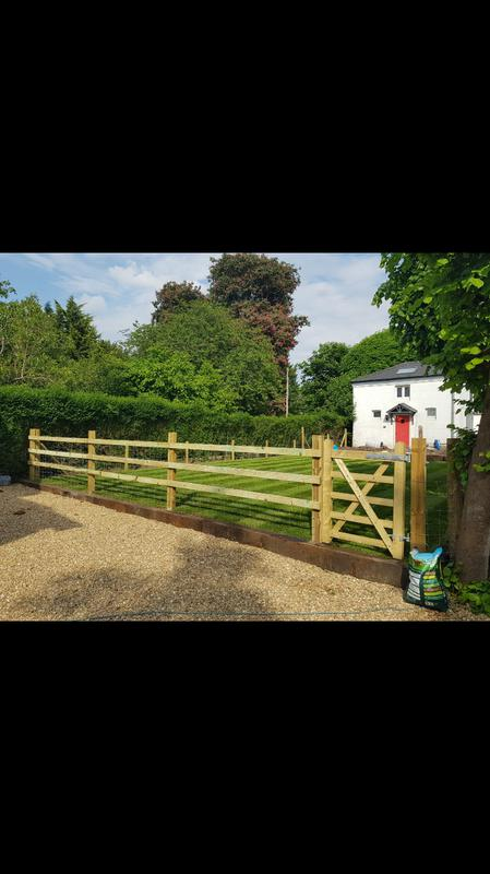 Image 32 - Post and rail fencing with pedestrian gate with 100sqm turf installed