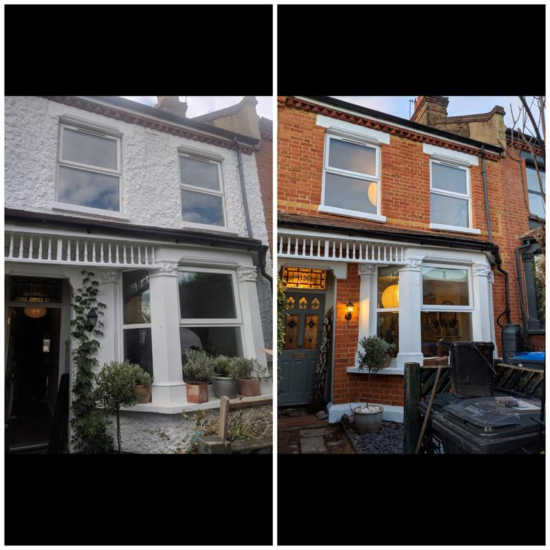 Image 3 - Pebbledash removal and full brick restoration including repointing using NHL 3.5 lime. West Norwood