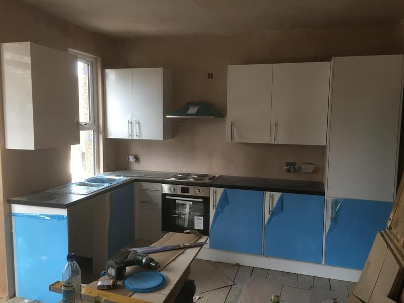 Image 14 - Finished kitchen, minus the cooker hood chimney as the ducting wasn't installed as of yet by the builders we was working for.