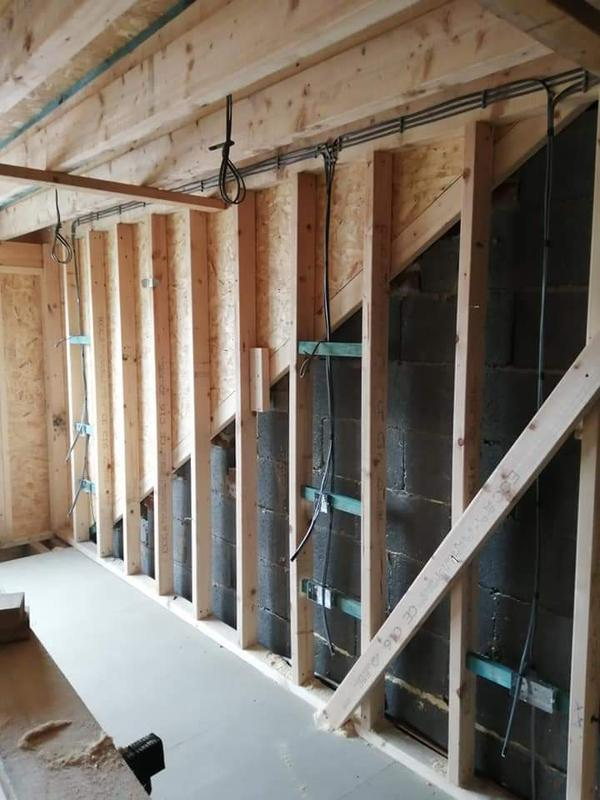 Image 29 - First fix wiring of a loft conversion.
