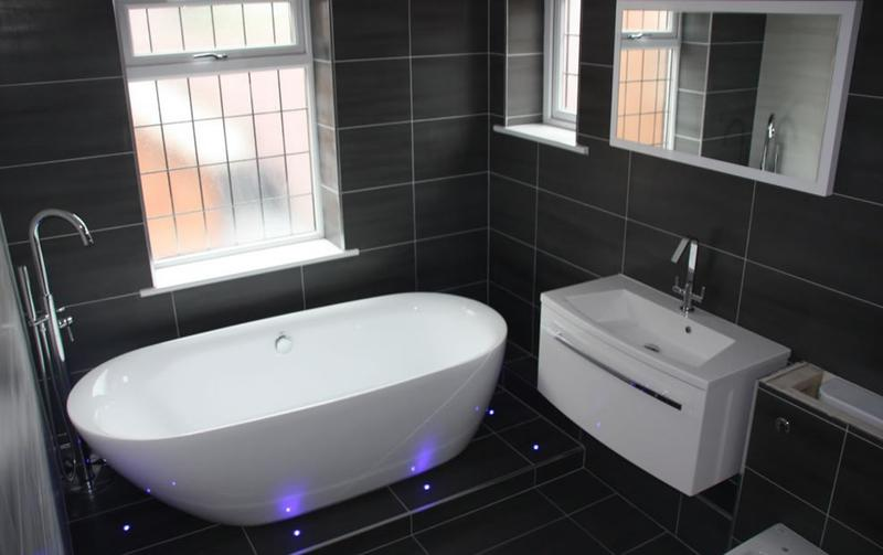Image 29 - This bathroom had LED lights fitted around the free standing bath for extra style.
