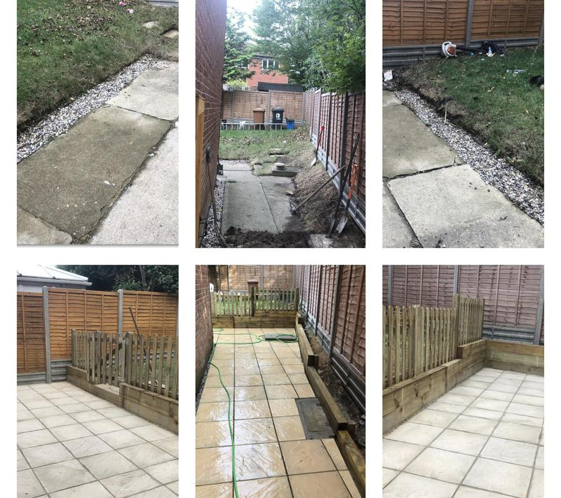 Image 17 - 30- Slabbing with retaining sleeper wall and picket fence to secure for customers children - before and after