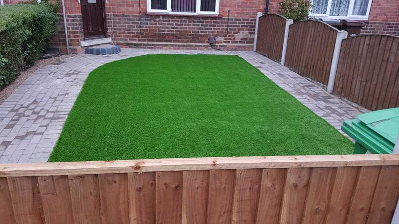 Image 130 - new artificial grass with block paving laid in Basford Nottingham