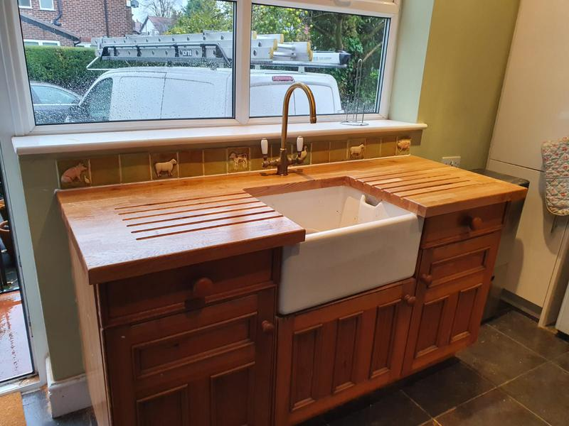 Image 6 - Worktop installation with Belfast cutout and drainer grooves both sides