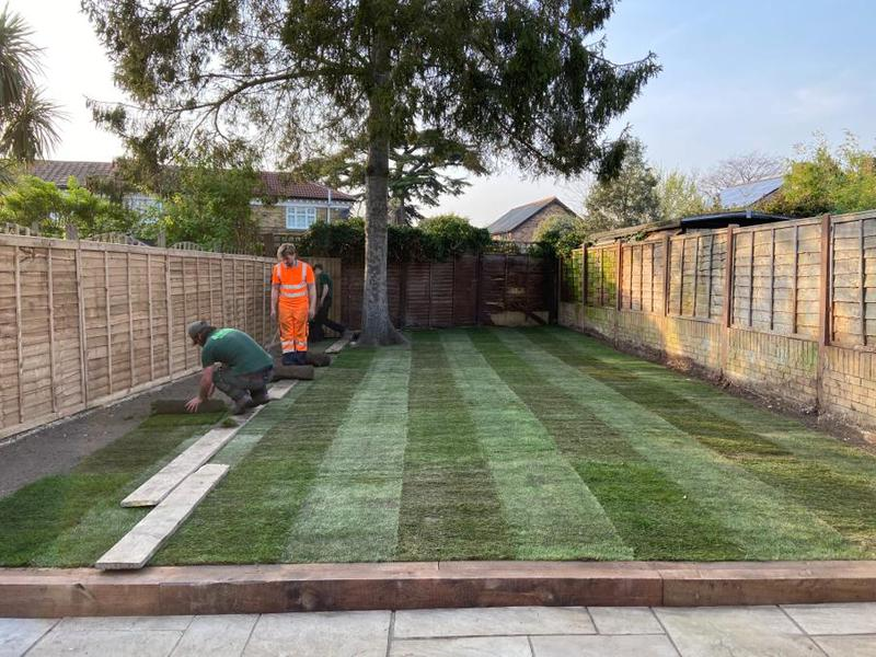 Image 19 - Walton on Thames Re-landscape and to supply sleepers and new Indian sandstone patio