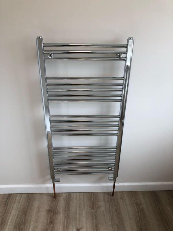 Image 22 - Slim line chrome towel rail to finish off this new bathroom intal.