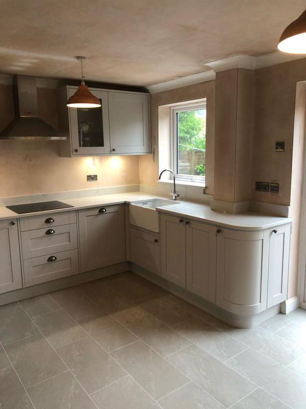 Image 58 - dove grey shaker units with appollo quartz worktops, a striking finish to any kitchen. new elecs, plumbing, replastering