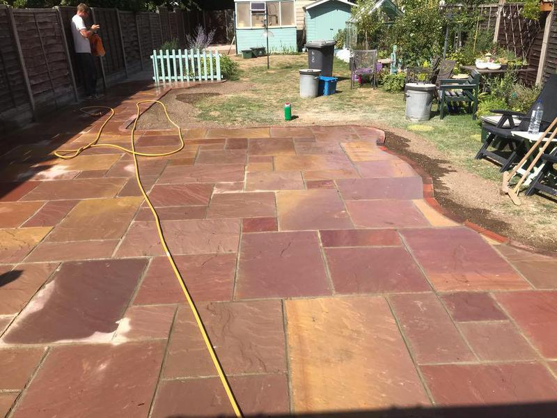 Image 90 - Sandstone patio with block paving edging in Sawbridgeworth.