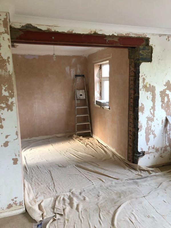 Image 34 - bedroom/dressing room knock through, passed by building control and ready for the a complete replaster