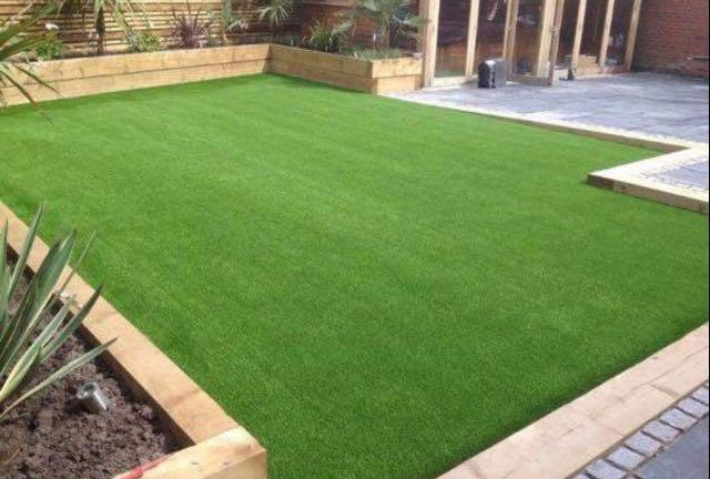 Image 11 - Aftifical Grass and Sleeper Flower Beds
