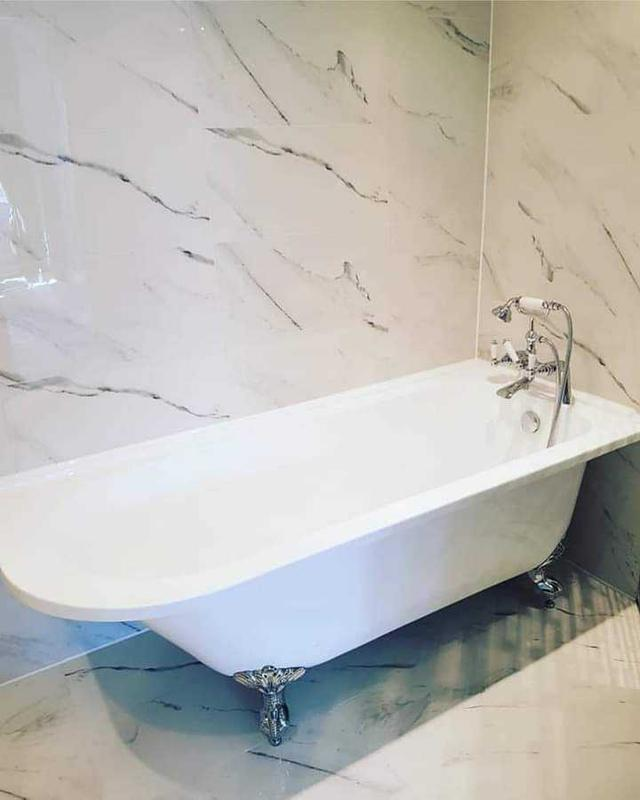Image 4 - white marble effect porcelain bathroom with corner free standing bath