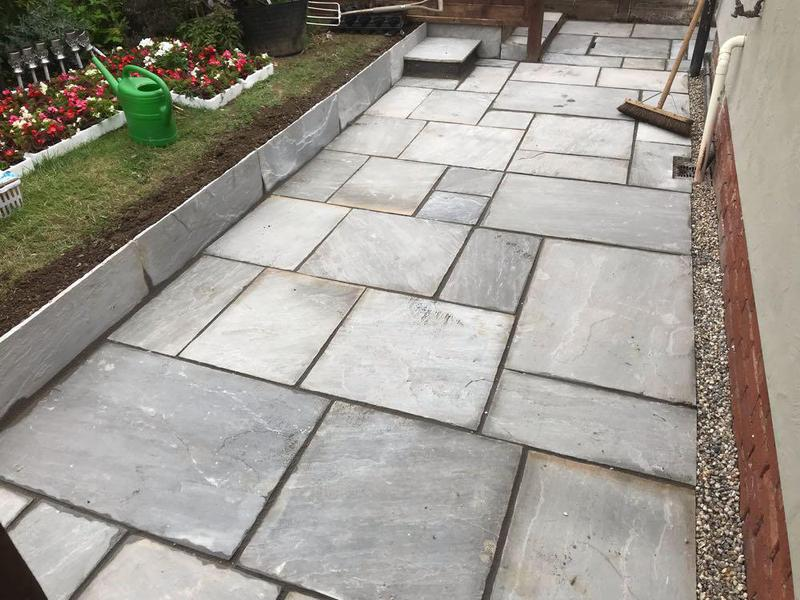 Image 86 - New Indian sandstone patio in Rickling green