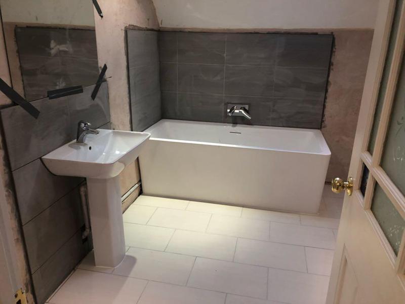 Image 12 - New bathroom installation floor & wall tiling