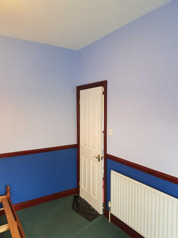 Image 36 - completed room. all walls were sanded down again, then crossed lined with a fibre lining paper, 3 coats of paint applied to top and bottom.  stain work finished and the under coated and eggshelled door