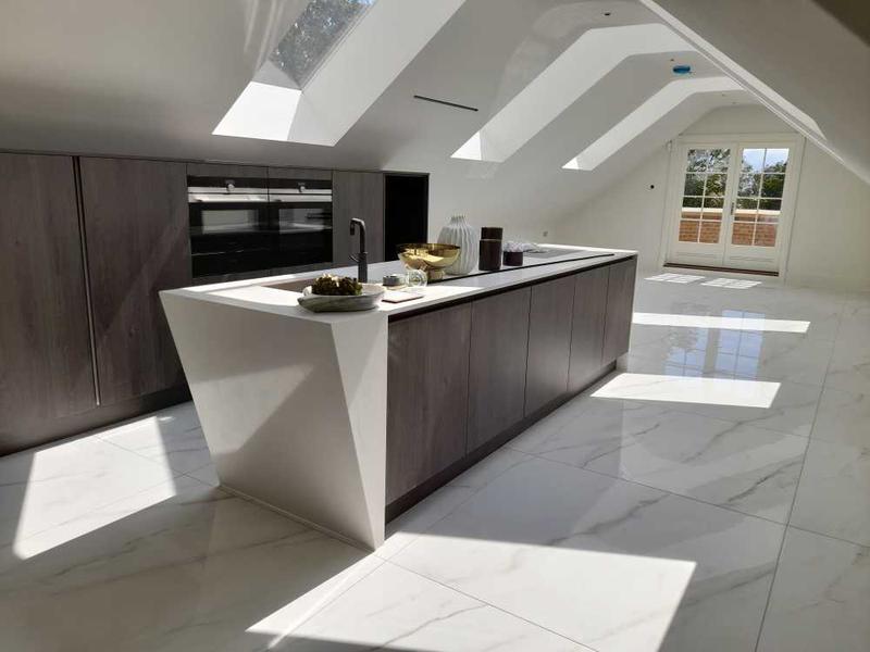 Image 19 - large format marble effect floor. quartz kitchen work top