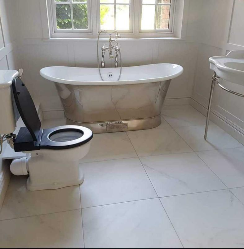 Image 16 - limestone bathroom floor and freestanding suite