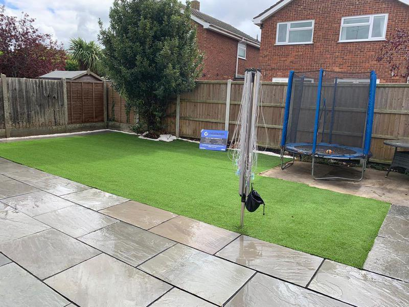 Image 16 - Artificial Grass & Grey Indian Sandstone Paving with white stone finish