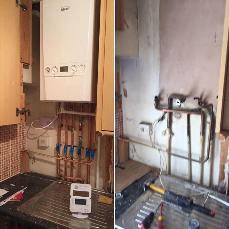 Image 20 - Handy Gentlemen gas safe engineer upgrading a boiler in Oval, London.