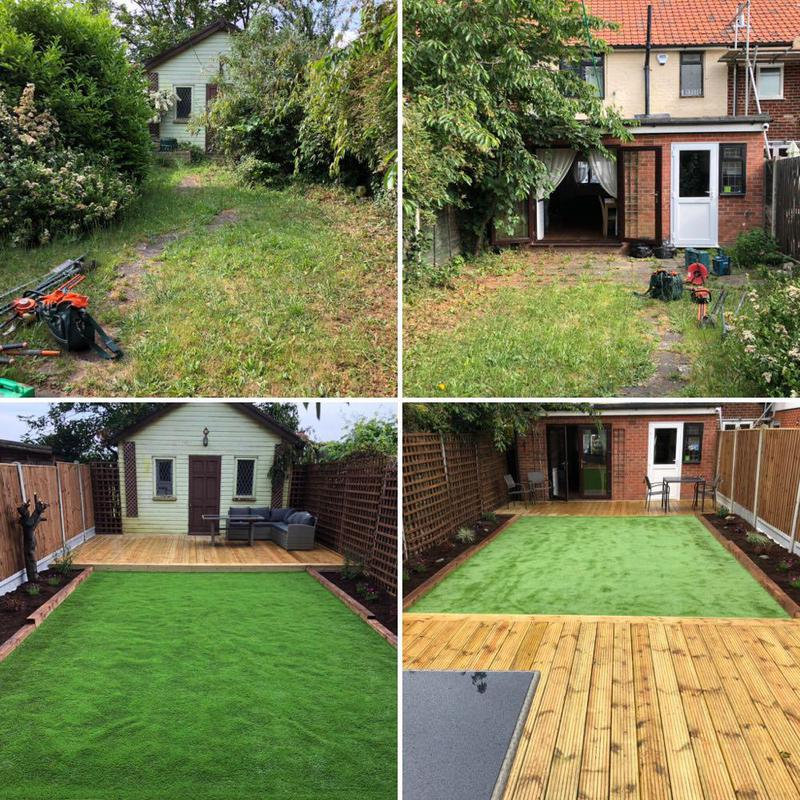 Image 39 - Full garden renovation. Decking at both ends of the garden, raised flowerbeds on both sides, artificial grass, fencing...